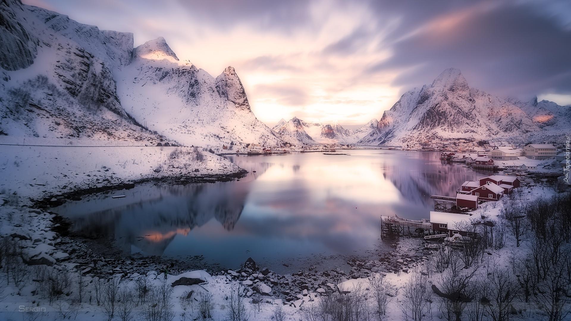 Fondo Escritorio Paisaje Bonita Nevada: Góry, Jezioro, Śnieg