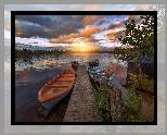 Jezioro, Drzewa, Dom, Pomost, Łódki, Wschód, Słońca