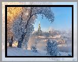 Rosja, Torżok, Zima, Mgła, Rzeka, Domy, Cerkiew, Drzewa, Szron