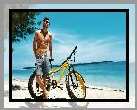 Mężczyzna, Lato, Plaża, Rower, Okulary, Słońce