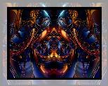 Grafika 3D, Granatowo-złota, Abstrakcja