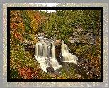 Stany Zjednoczone, Stan Wirginia Zachodnia, Park stanowy Blackwater Falls, Jesień, Las, Skały, Wodospad Blackwater Falls