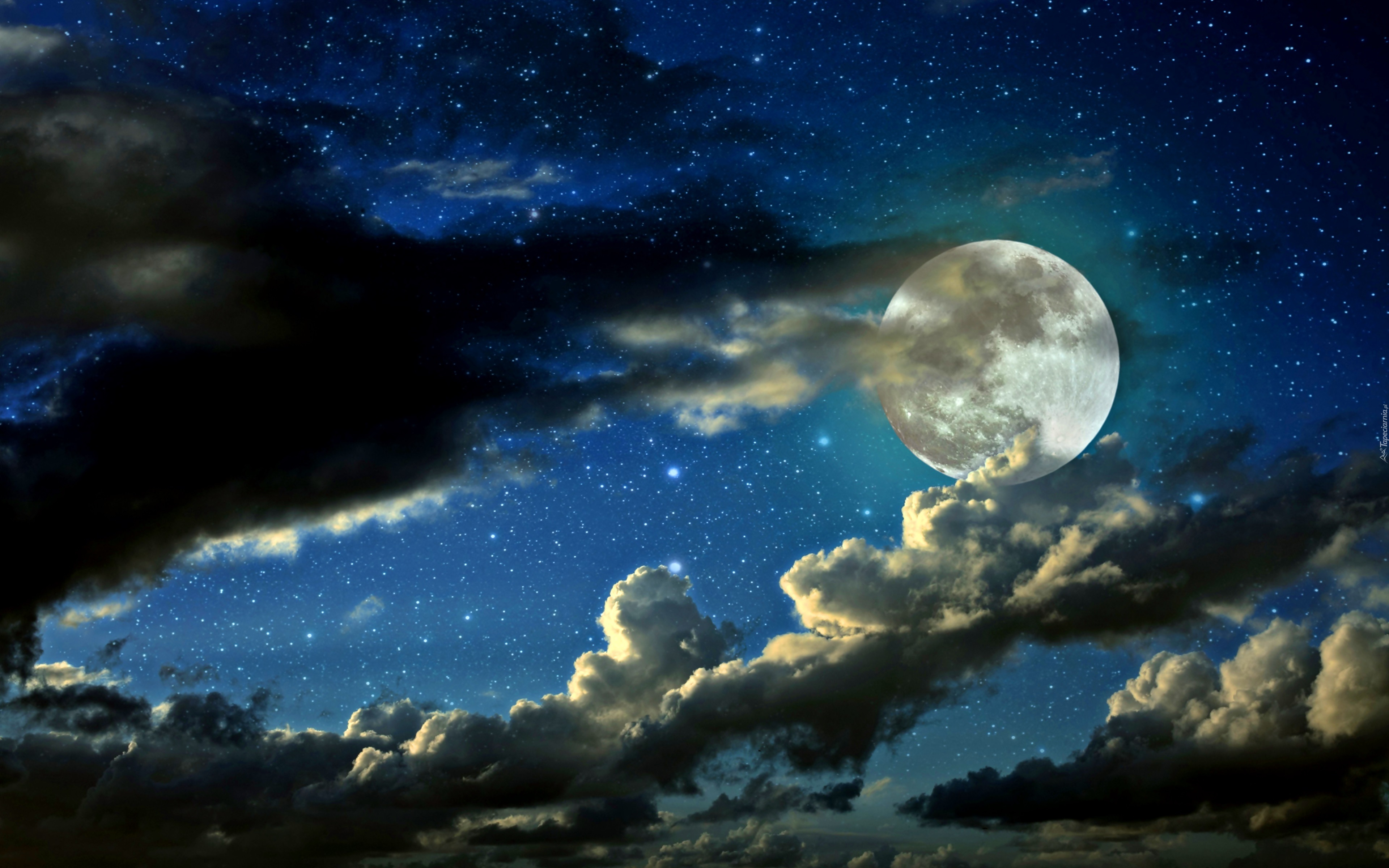 Znalezione obrazy dla zapytania noc z gwiazdami i ksiezycem