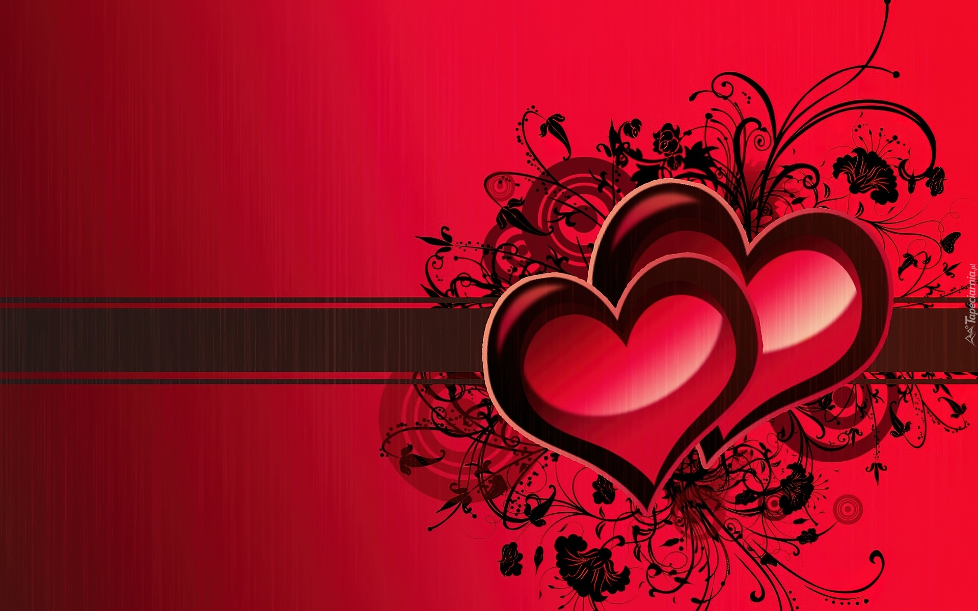 Wallpapers Fair Love Wallpaper Design For Desktop: Dwa, Serduszka, Na, Czerwonym, Tle, Grafika