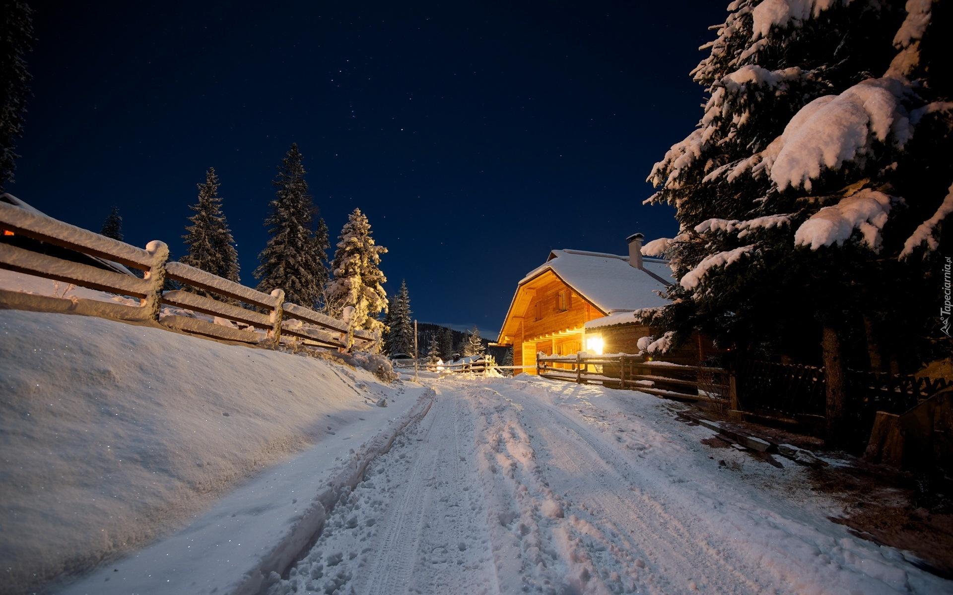 дорога зима вечер снег  № 3902560  скачать