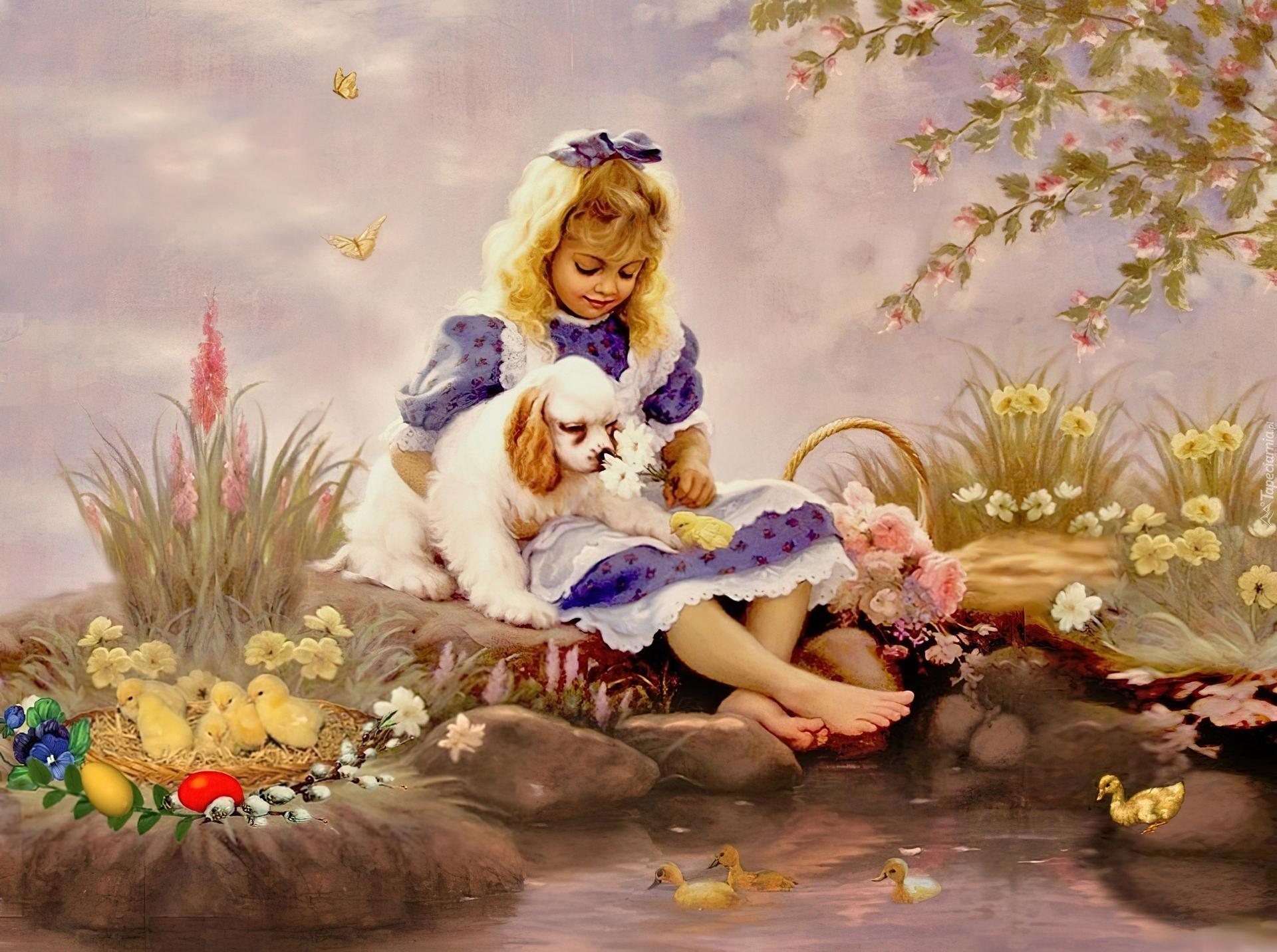 Dziewczynka, Pies, Wielkanoc