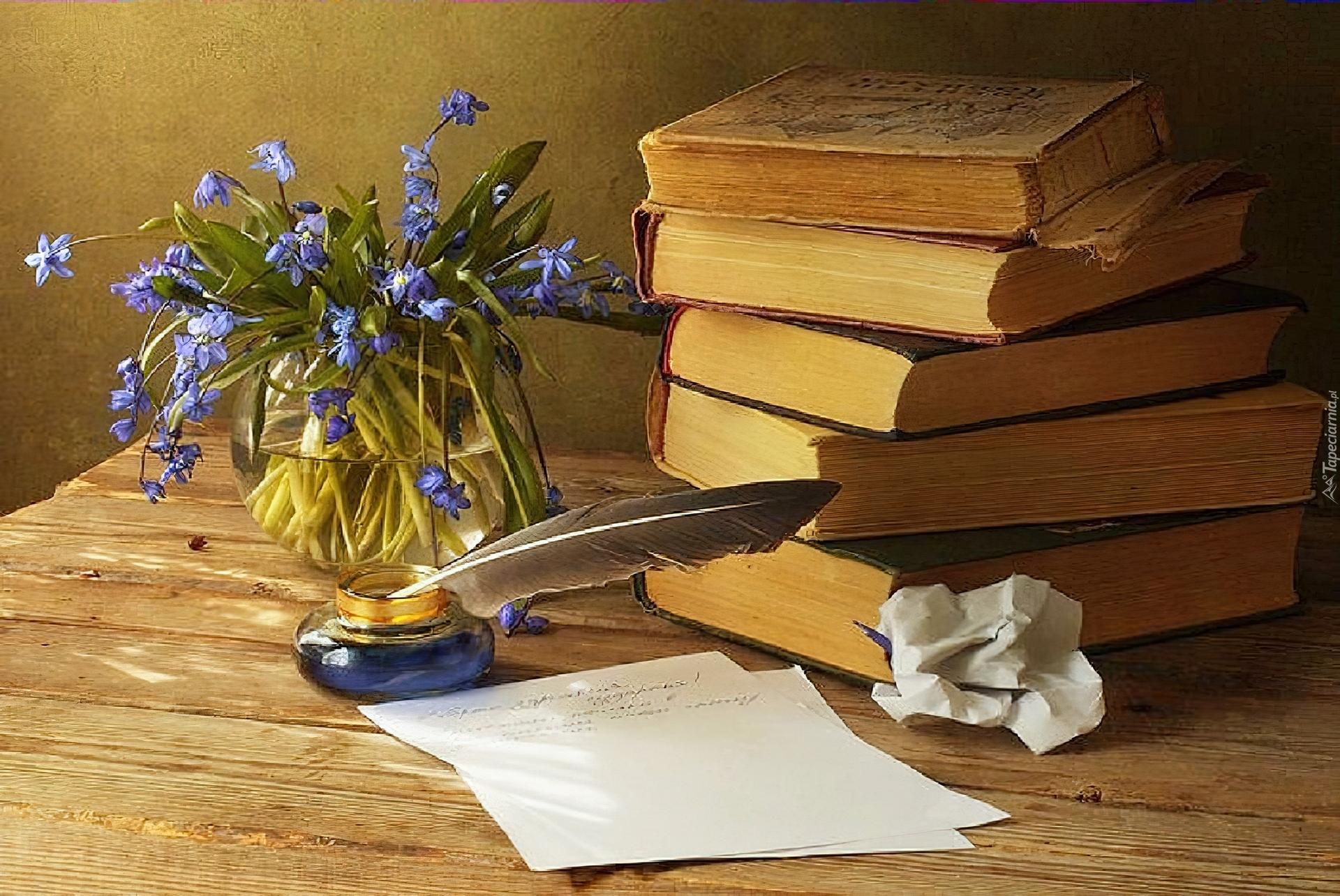 Książki, Kałamarz, Pióro, Wazonik, Kwiatki
