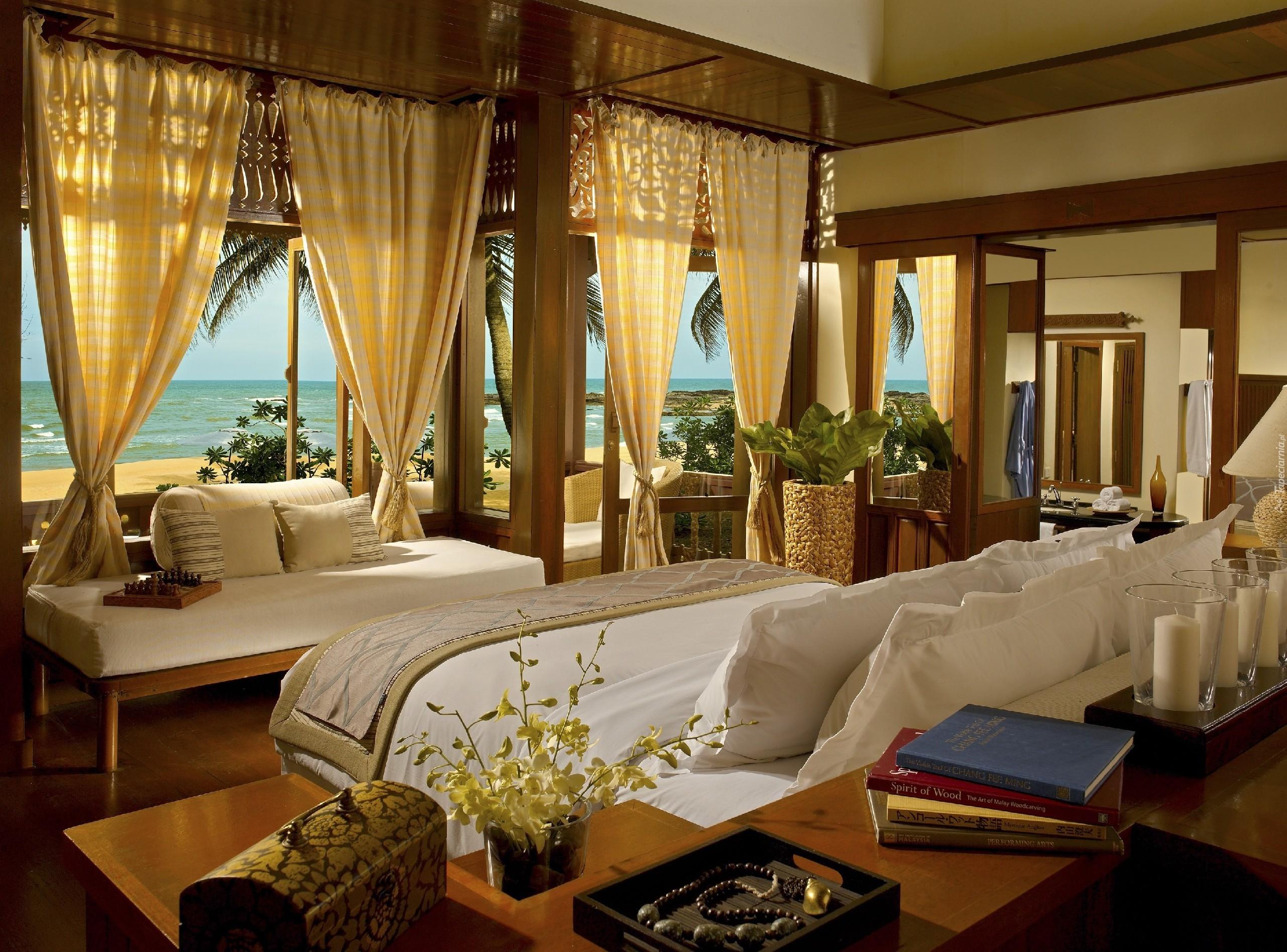 Dom sypialnia okno widok morze pla a for Home wallpaper kl