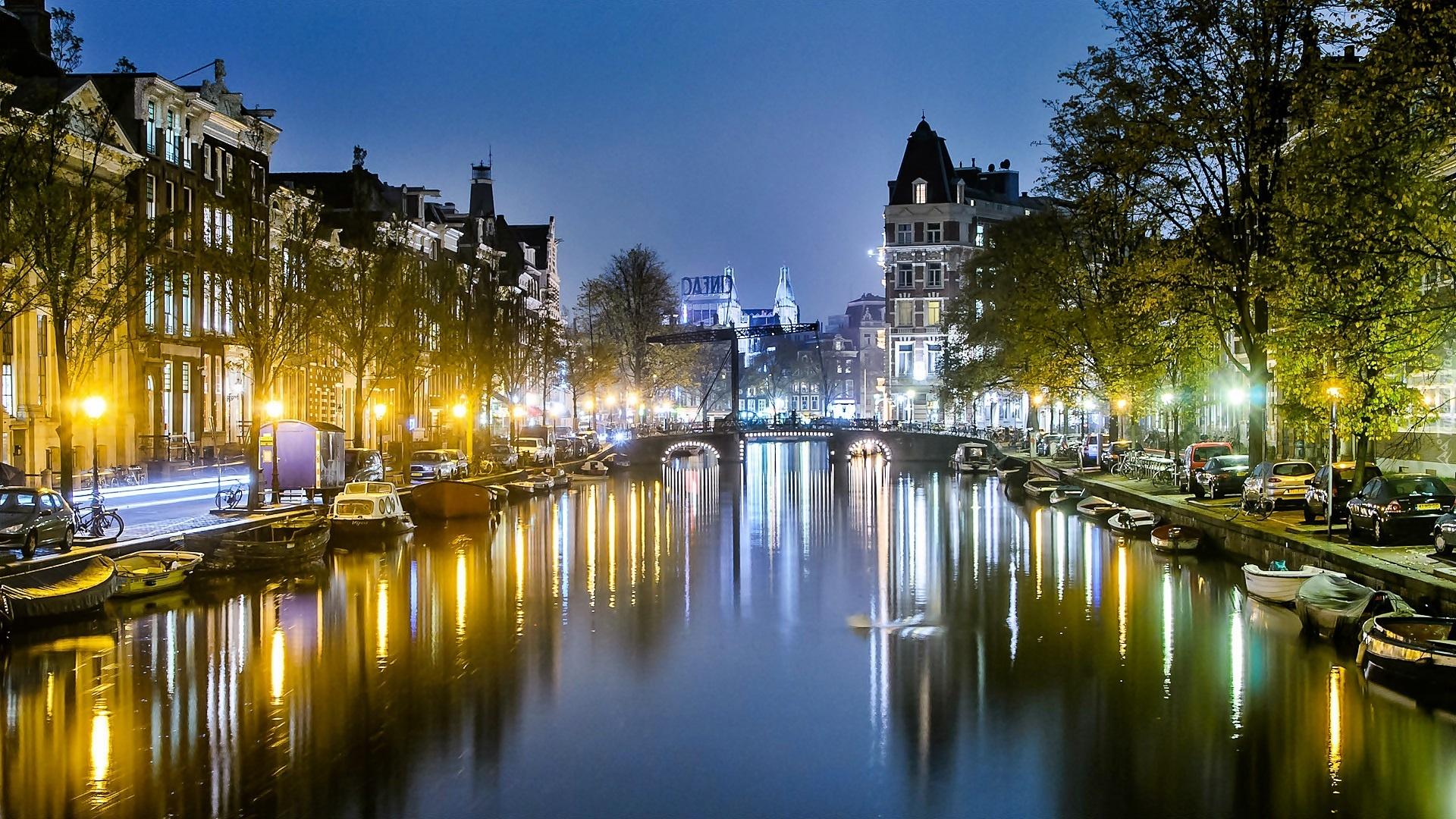 Amsterdam Noc Kamienice Kana Most Dki