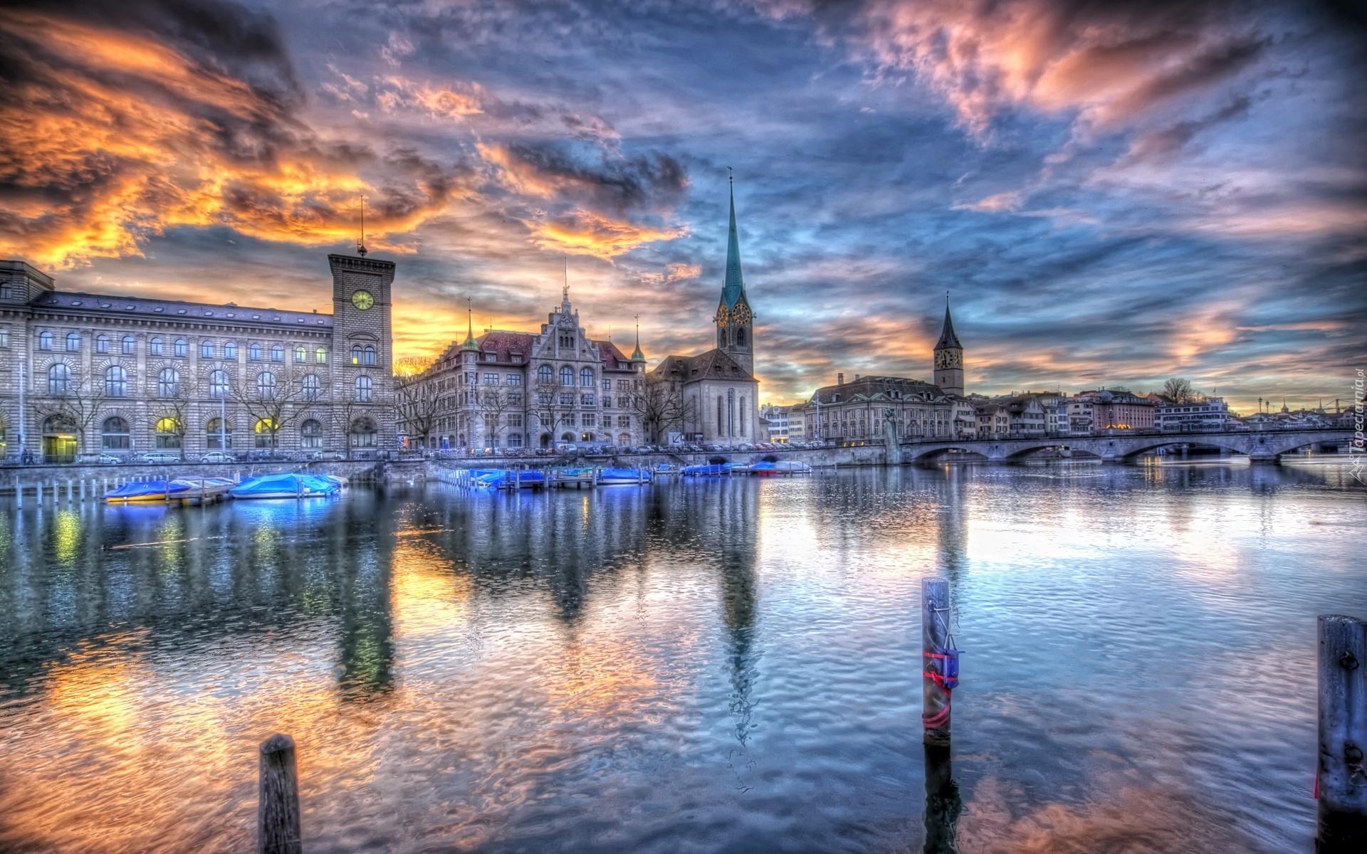 Szwajcaria, Zurych, Miasto, Rzeka, Most