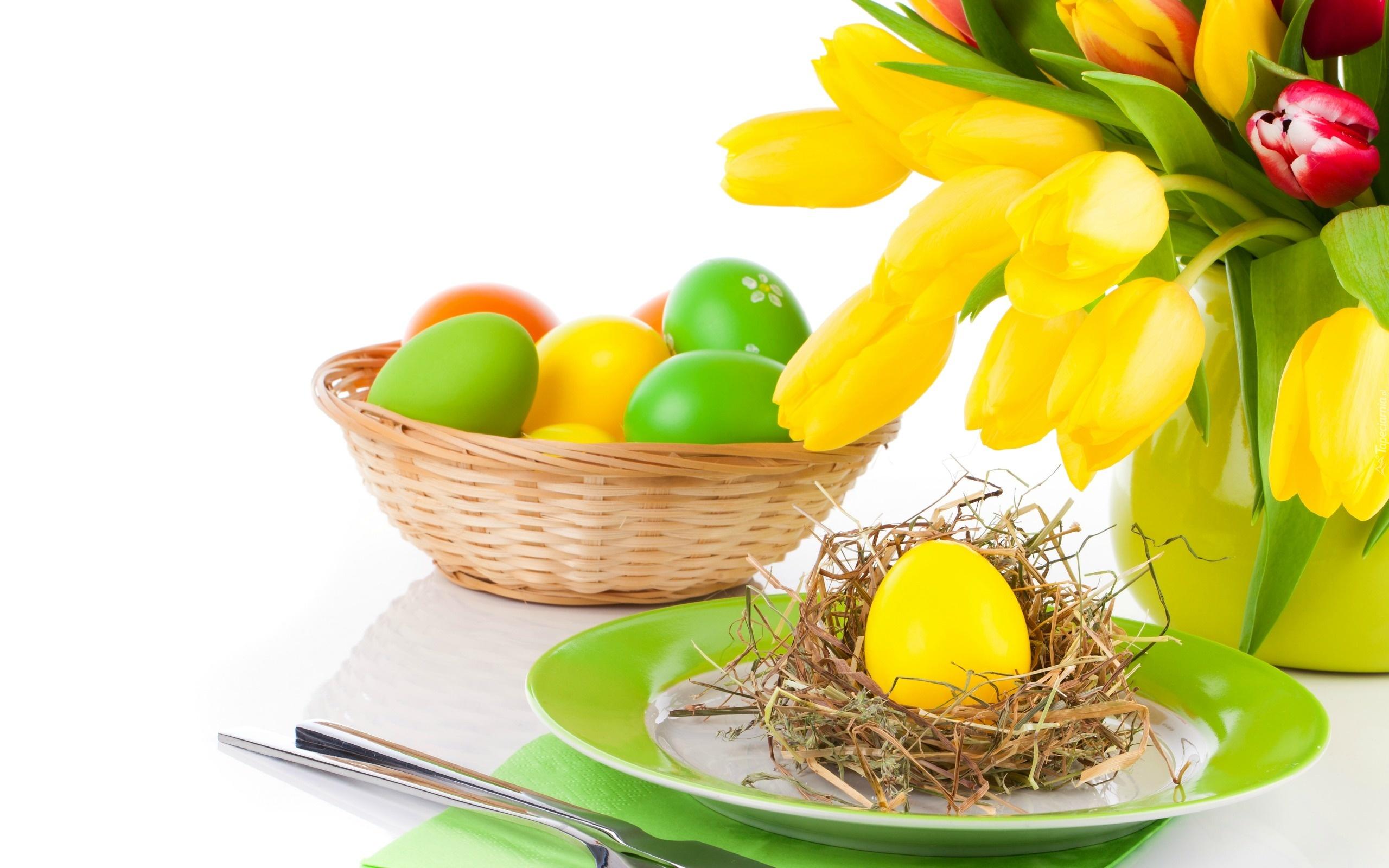 Bukiet, Tulipanów, Koszyk, Jajka, Wielkanoc