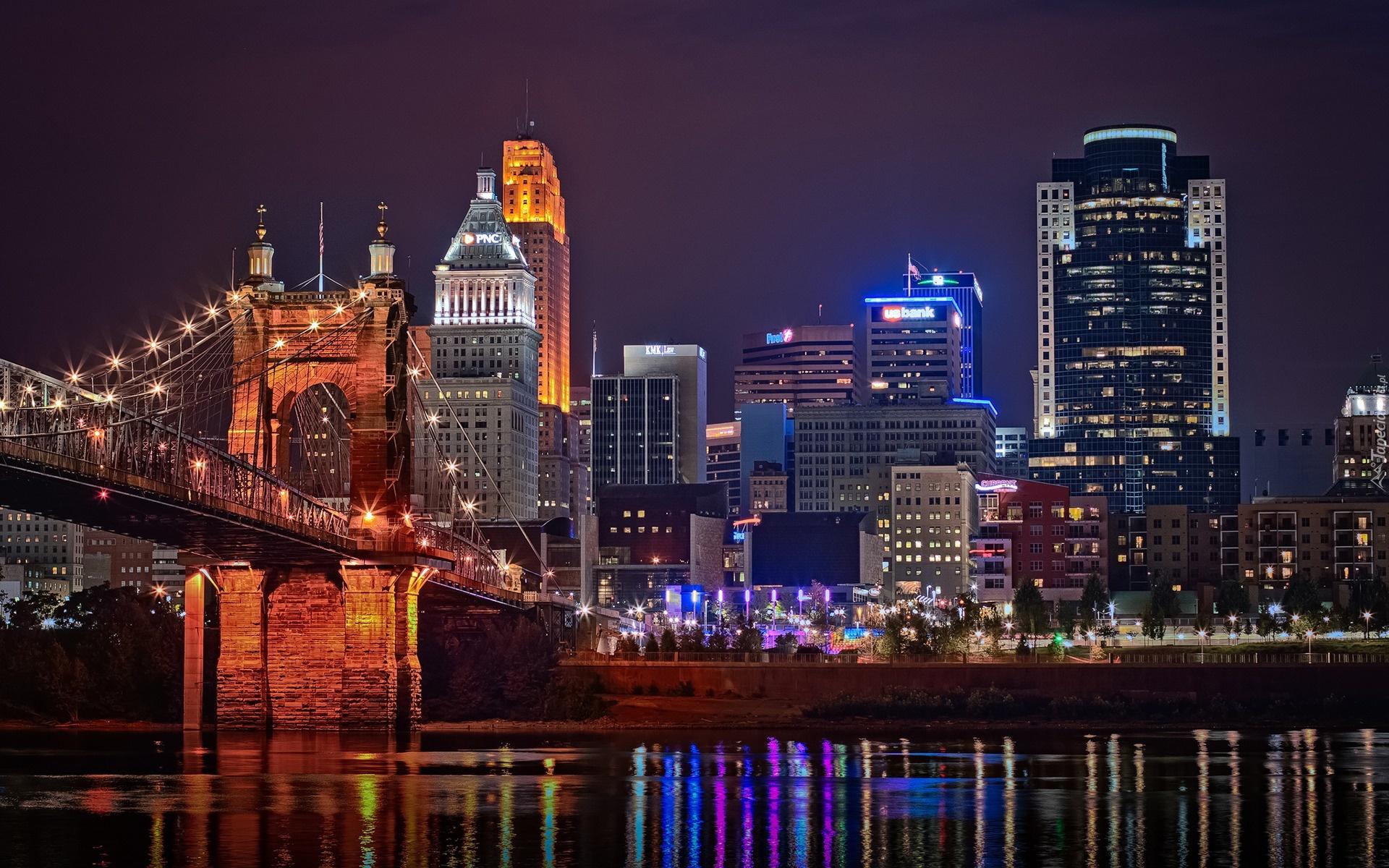 Stany Zjednoczone Cincinnati Miasto Noc Rzeka Most