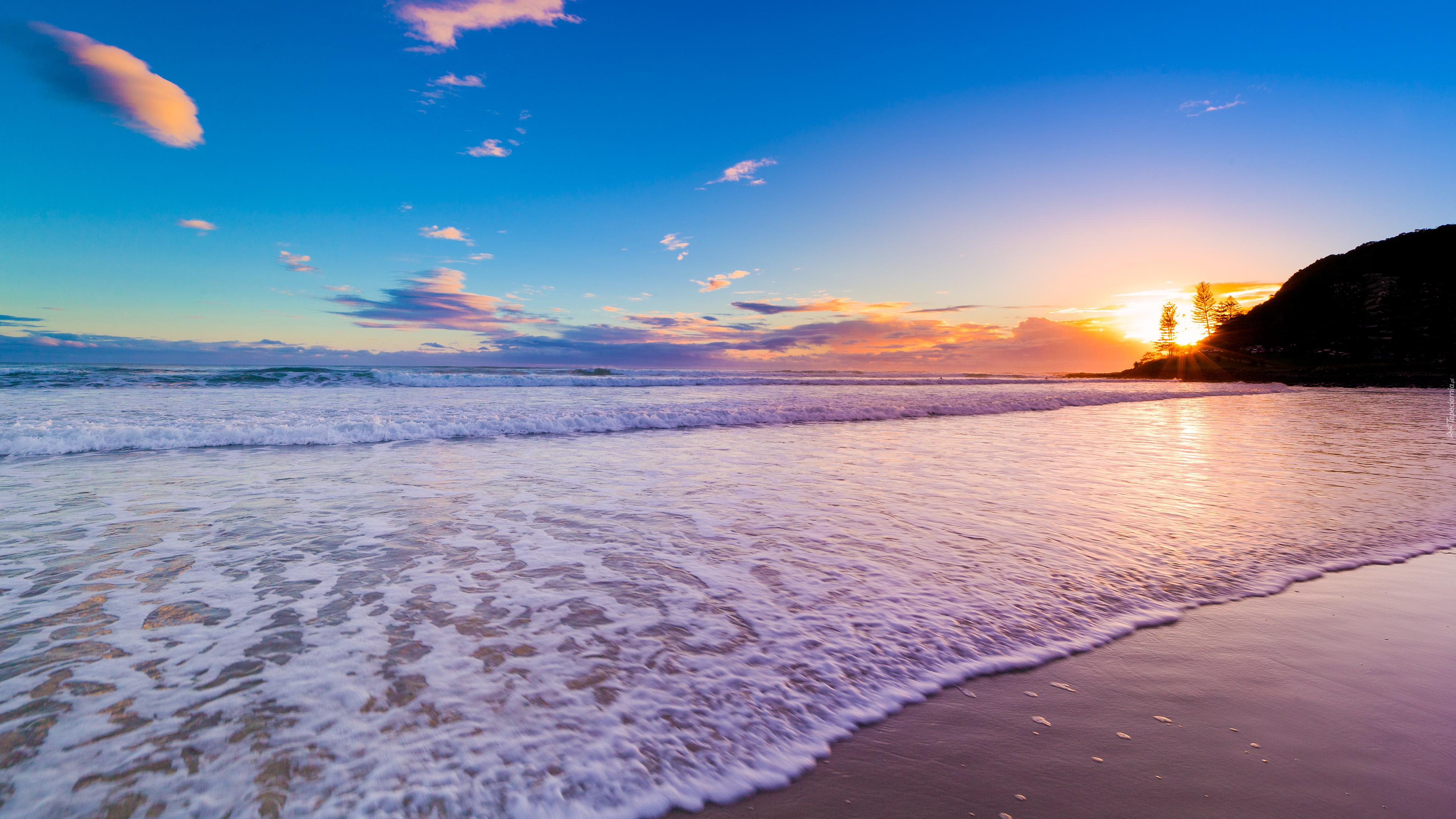 Morze, Plaża, Promienie, Słońca, Obłoki
