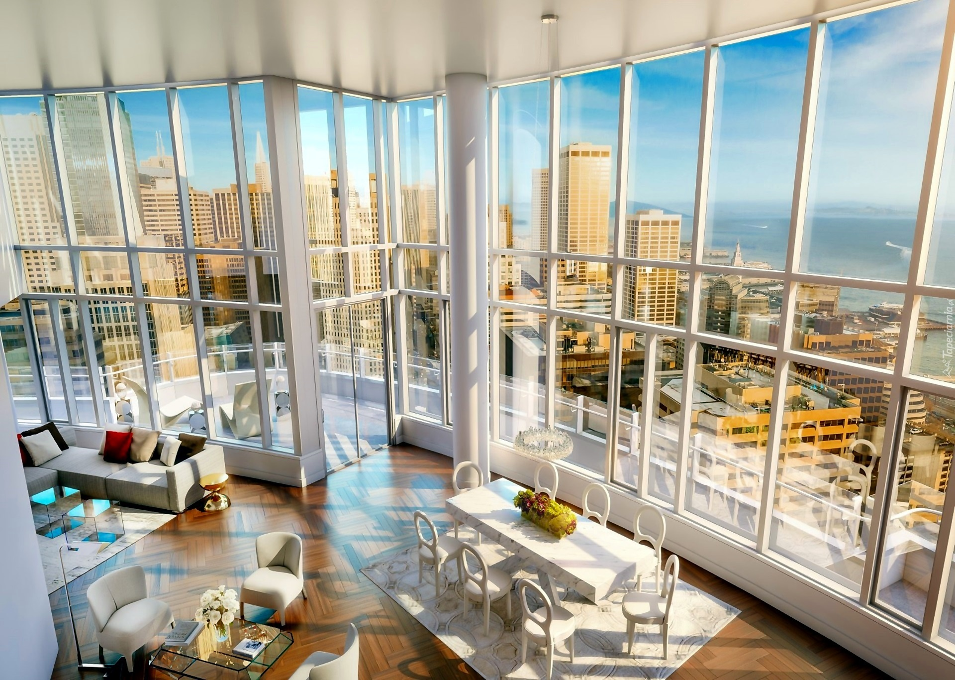 Wnętrze Pok 243 J Widokowe Okna Wieżowce Miasto