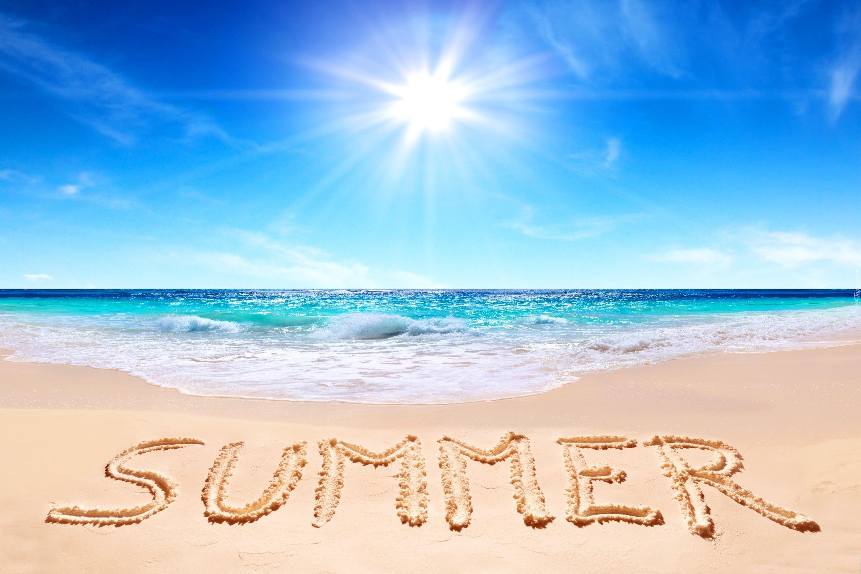 Plaża, Morze, Słońce, Napis, Lato