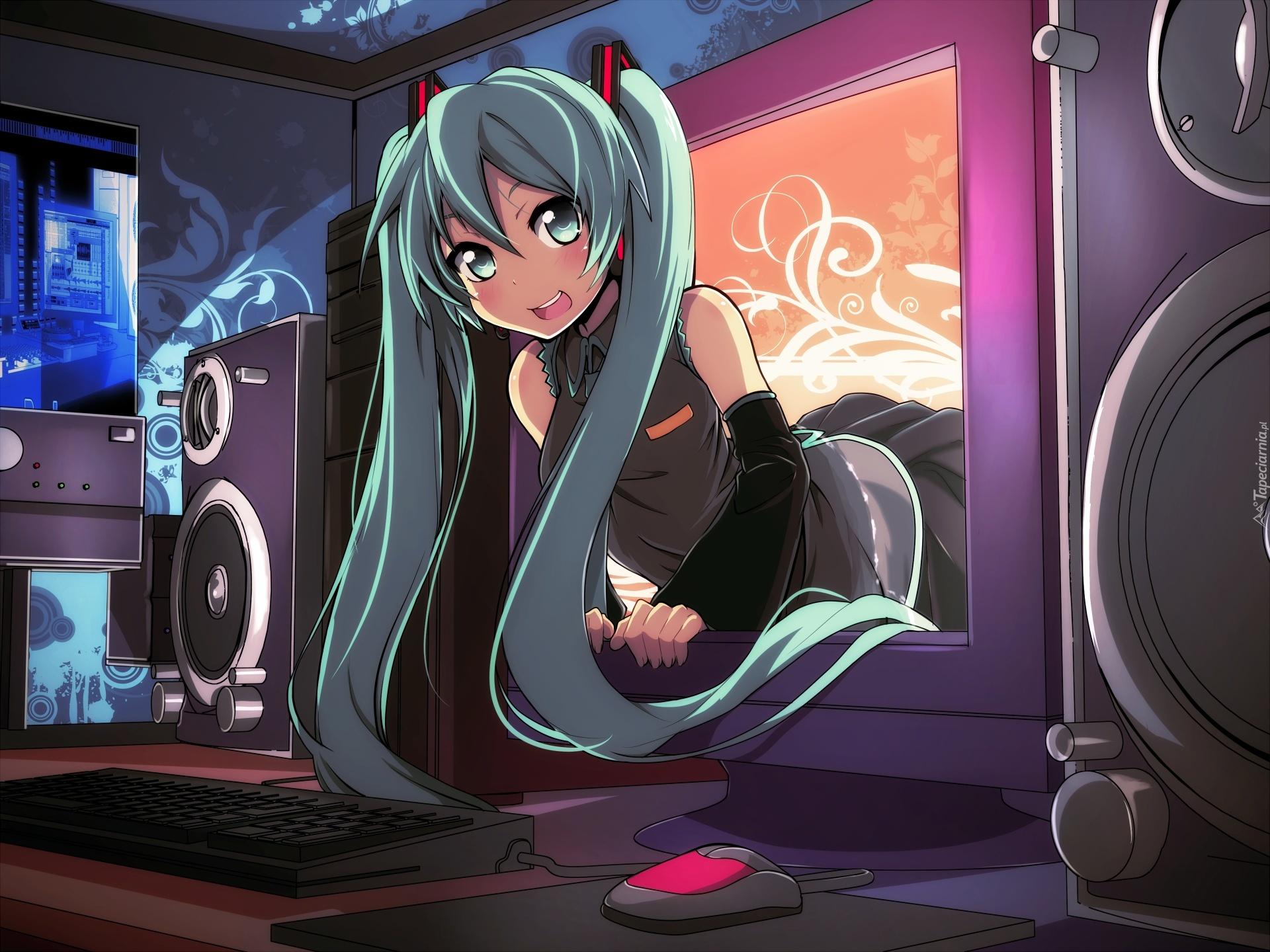 Vocaloid Hatsune Miku Monitor Głośniki Komputer