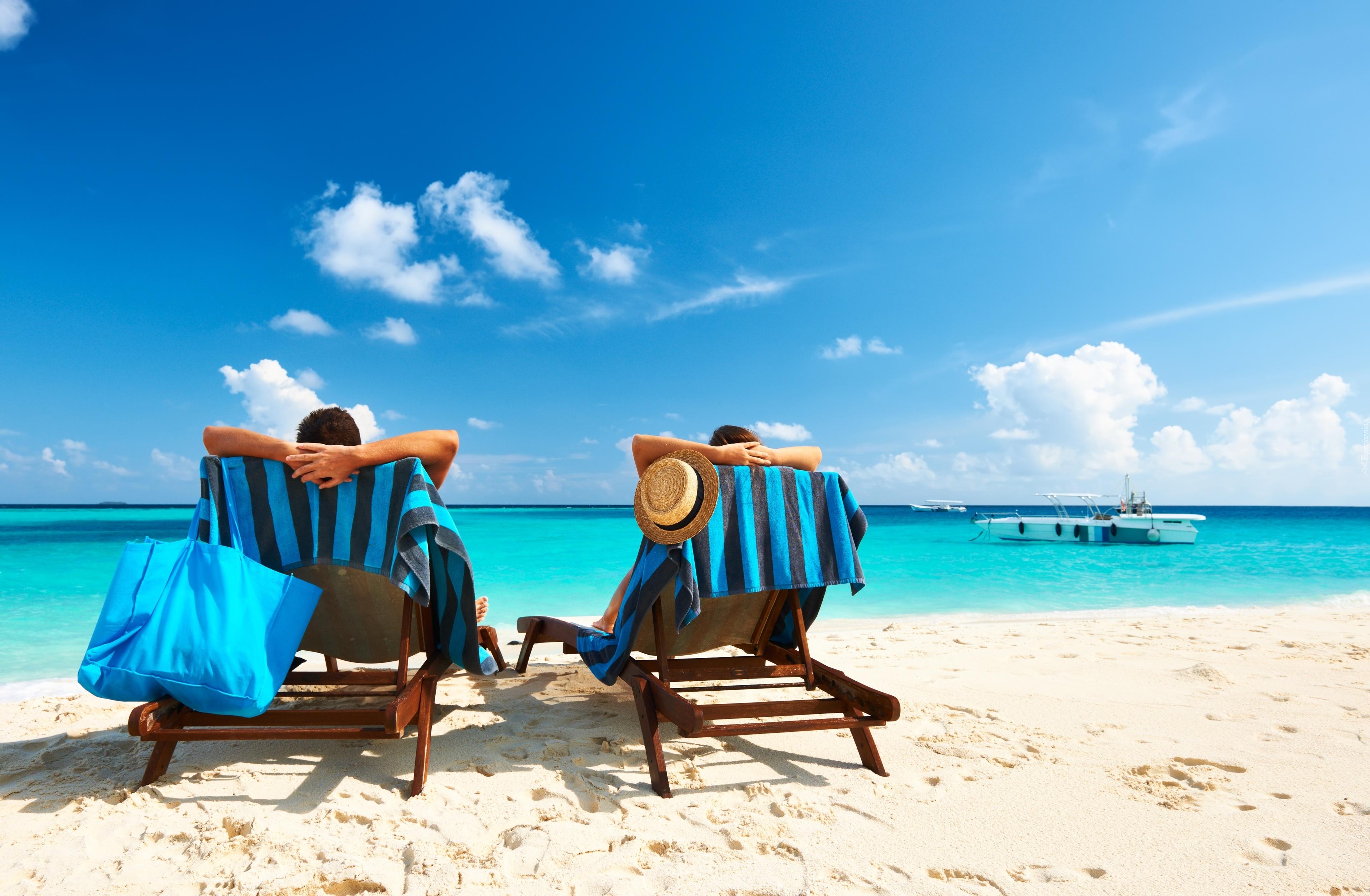 Lato Leżaki Odpoczynek Relax Plaża Wakacje