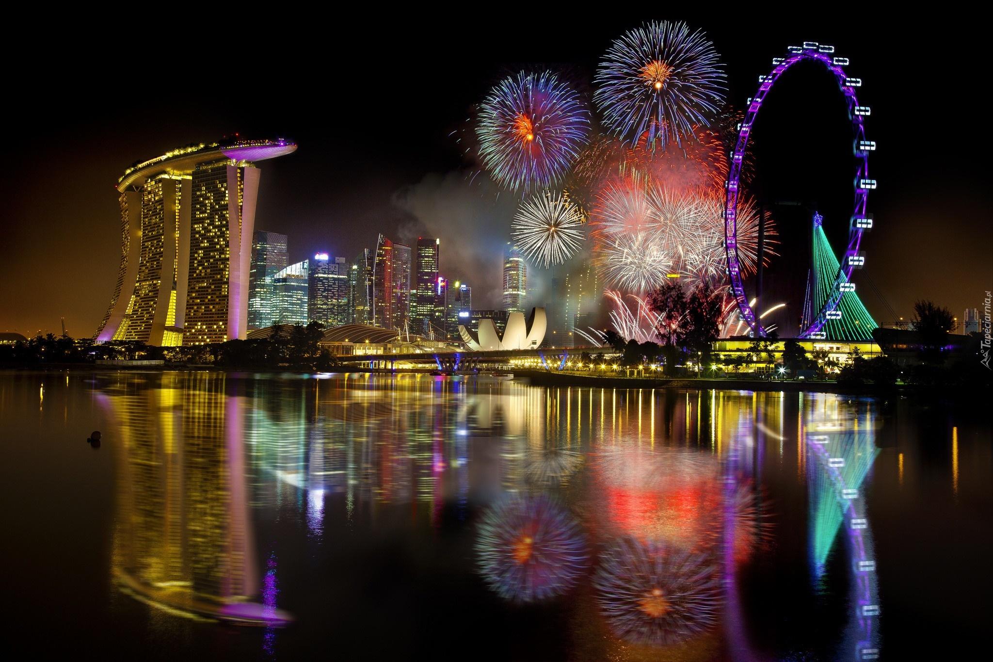 Singapur, Noc, Karuzela, Fajerwerki, Zatoka, Hotel Marina ...