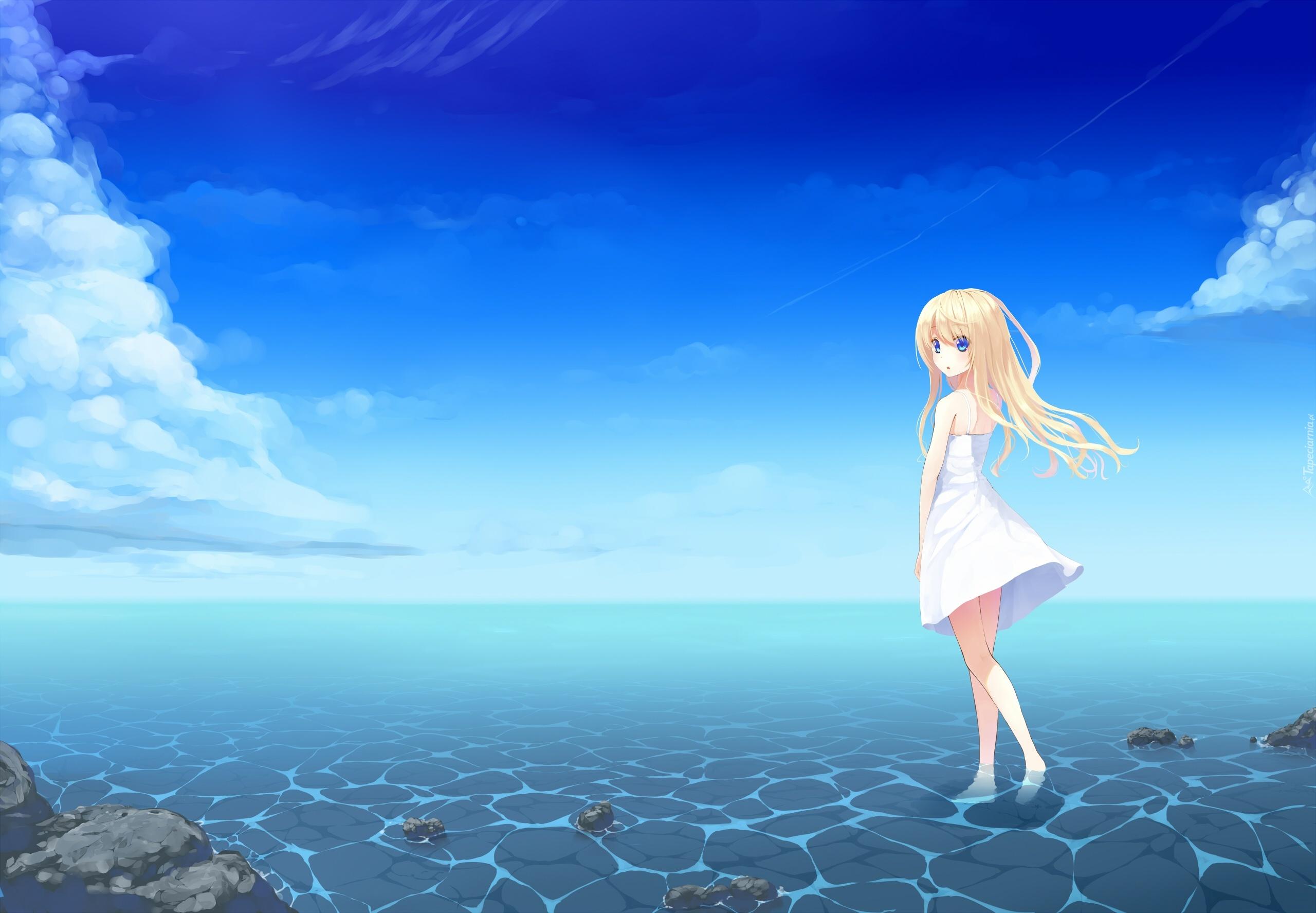 Dziewczyna woda niebo anime - Beach anime girl ...