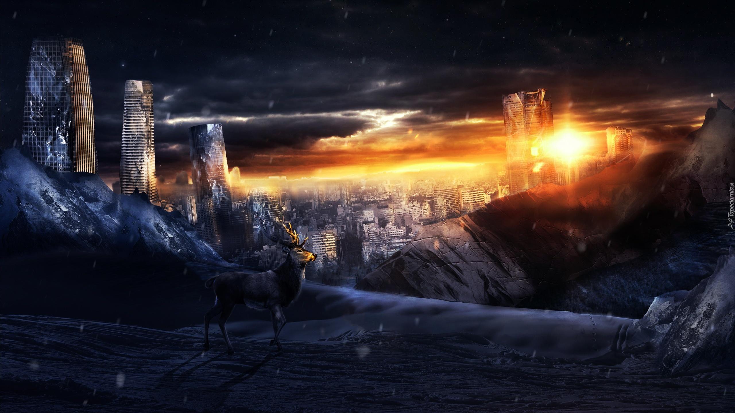 Apokalipsa Zrujnowane Miasto Fantasy
