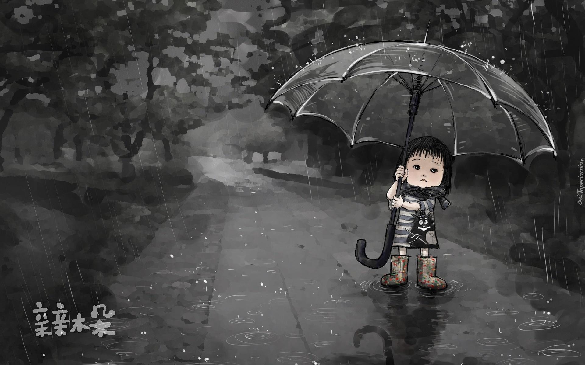 Deszcz, Dziewczynka, Parasol