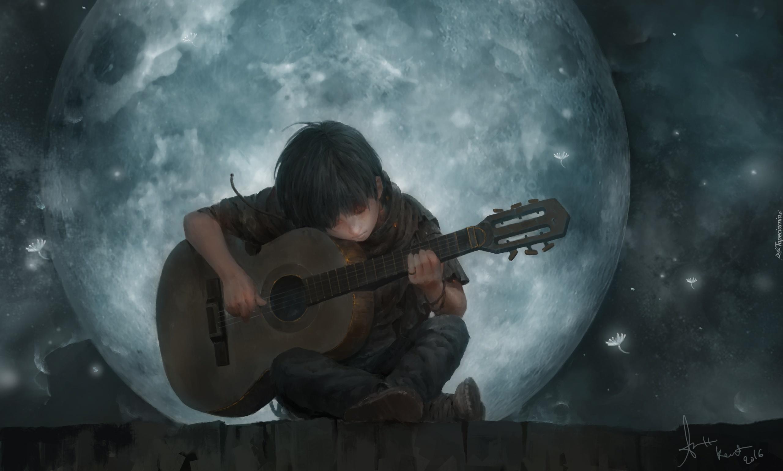 Рисунок мальчик с гитарой
