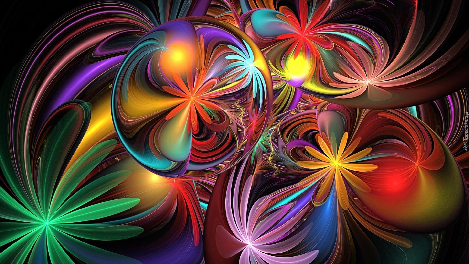 Abstrakcja Kolorowe Kwiaty