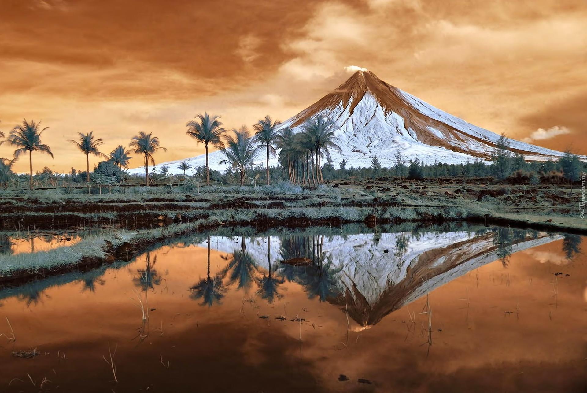 Filipiny Wyspa Wulkan Mayon Drzewa Morze Odbicie