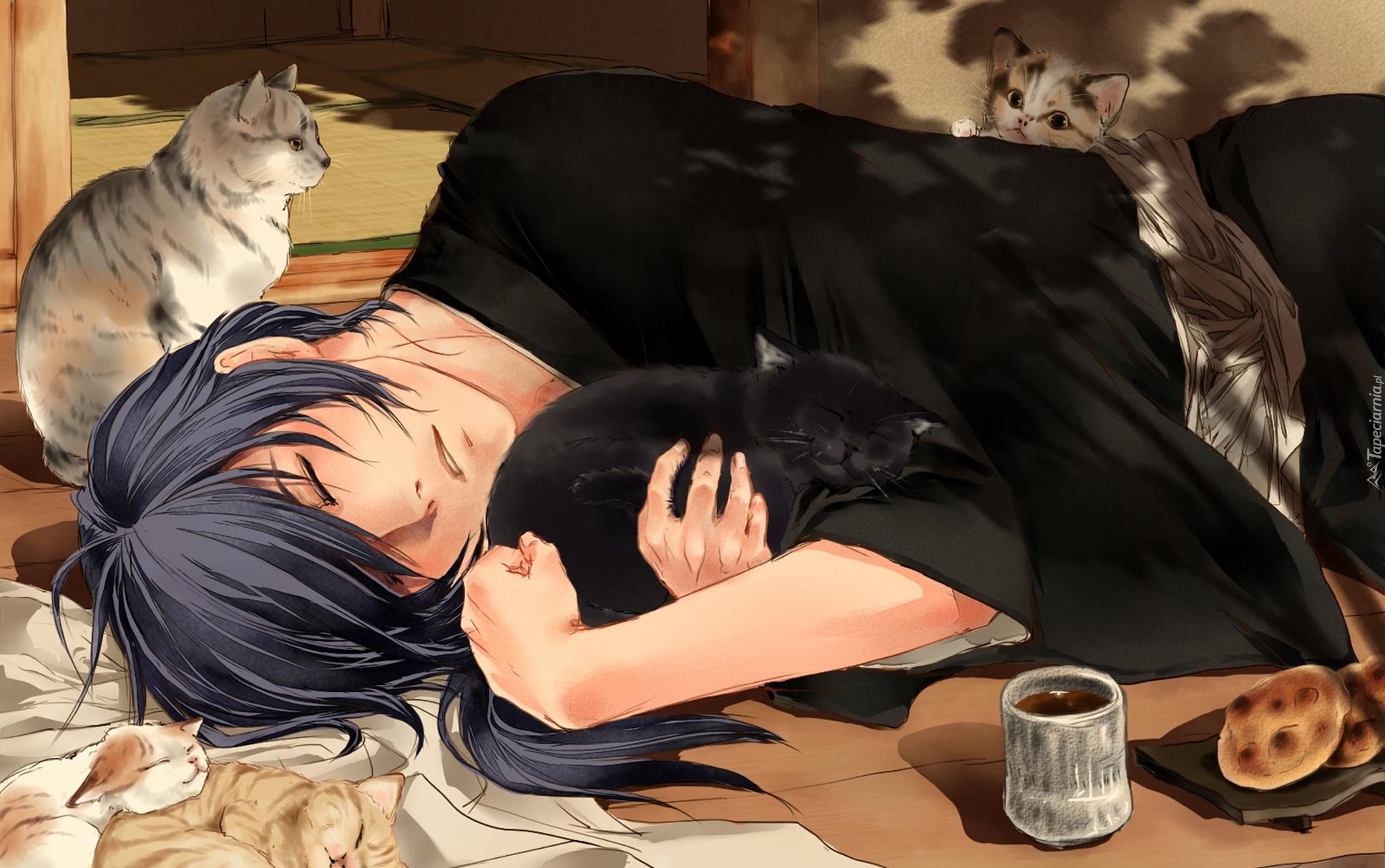 DT Sign Ups 265369_mezczyzna_koty_kubek_ciastka_rysunek_manga_anime