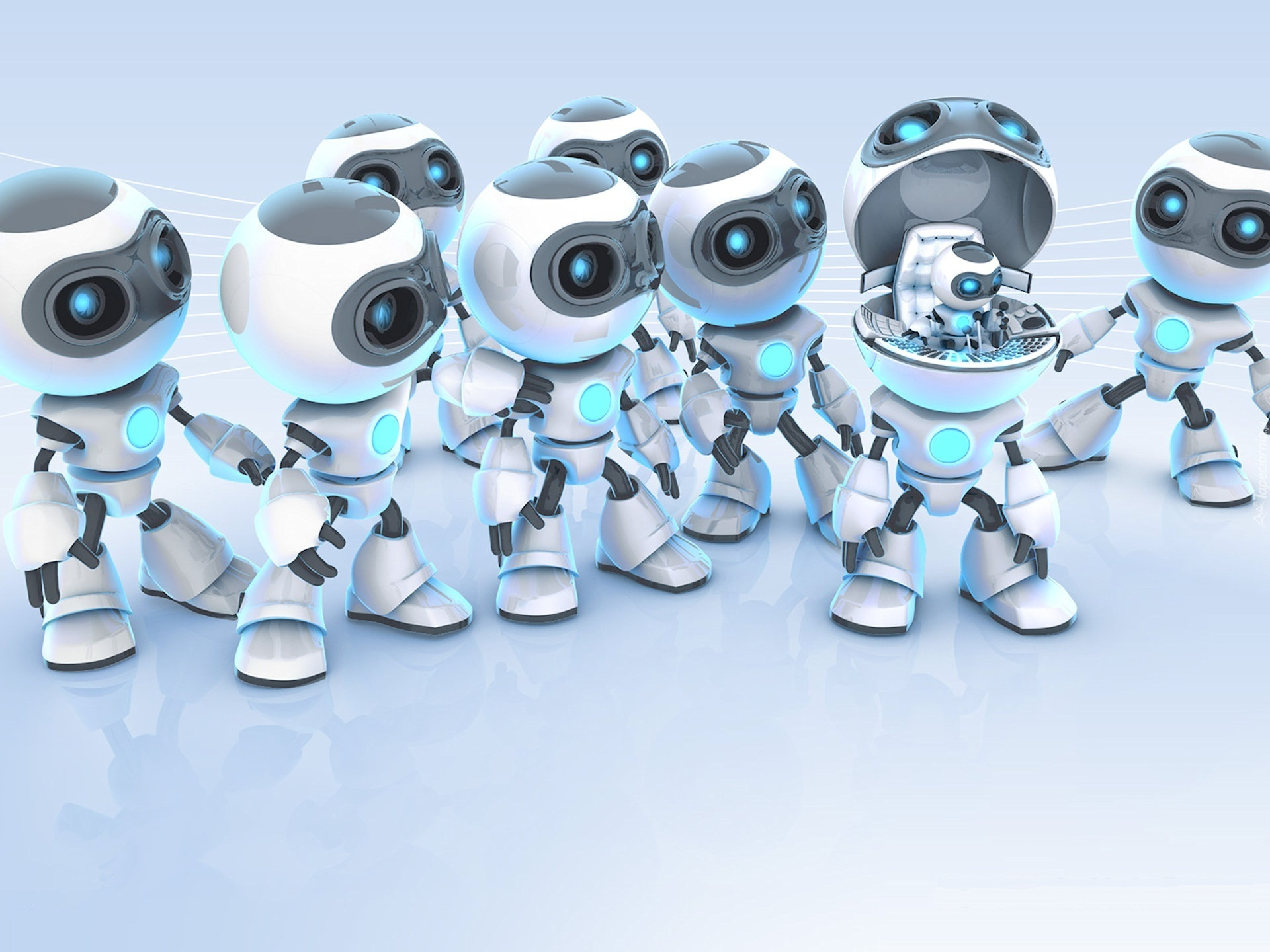 Cute Robot Love Wallpaper Roboty