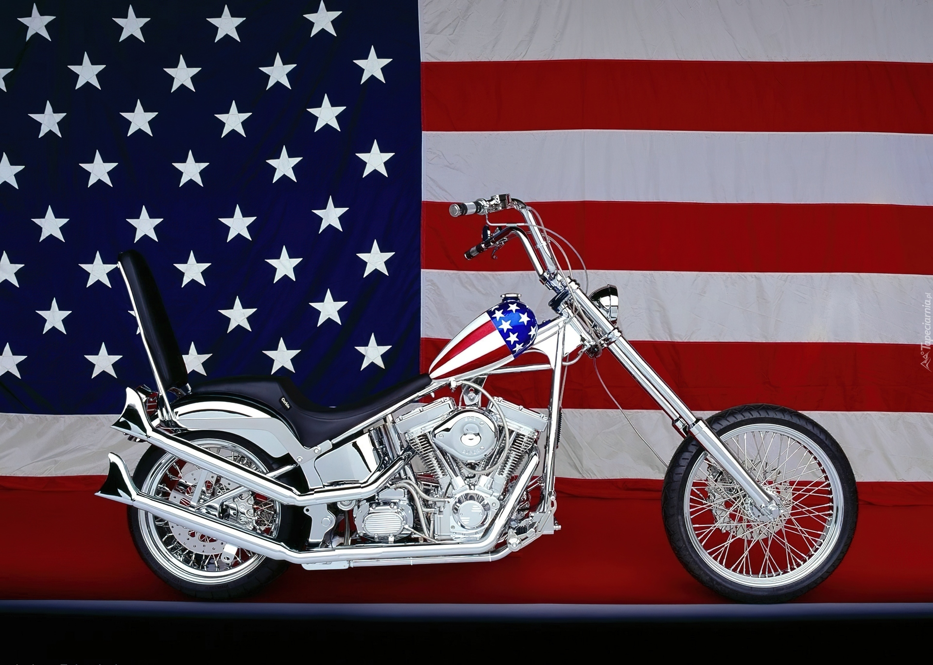 Srebrny Motocykl Flaga Usa