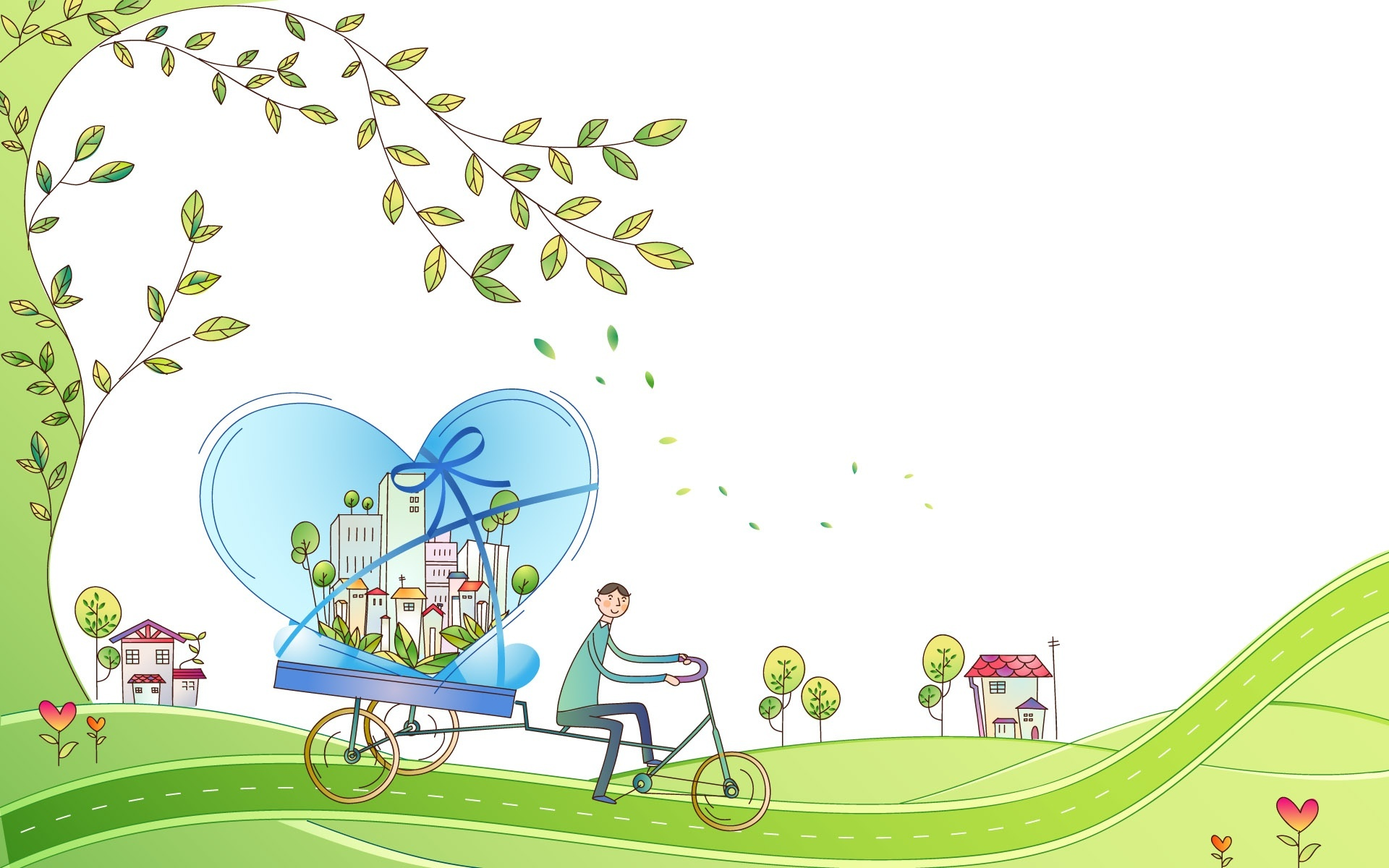 Zakochany ch opak rower grafika rysunek for Wallpaper home sweet home
