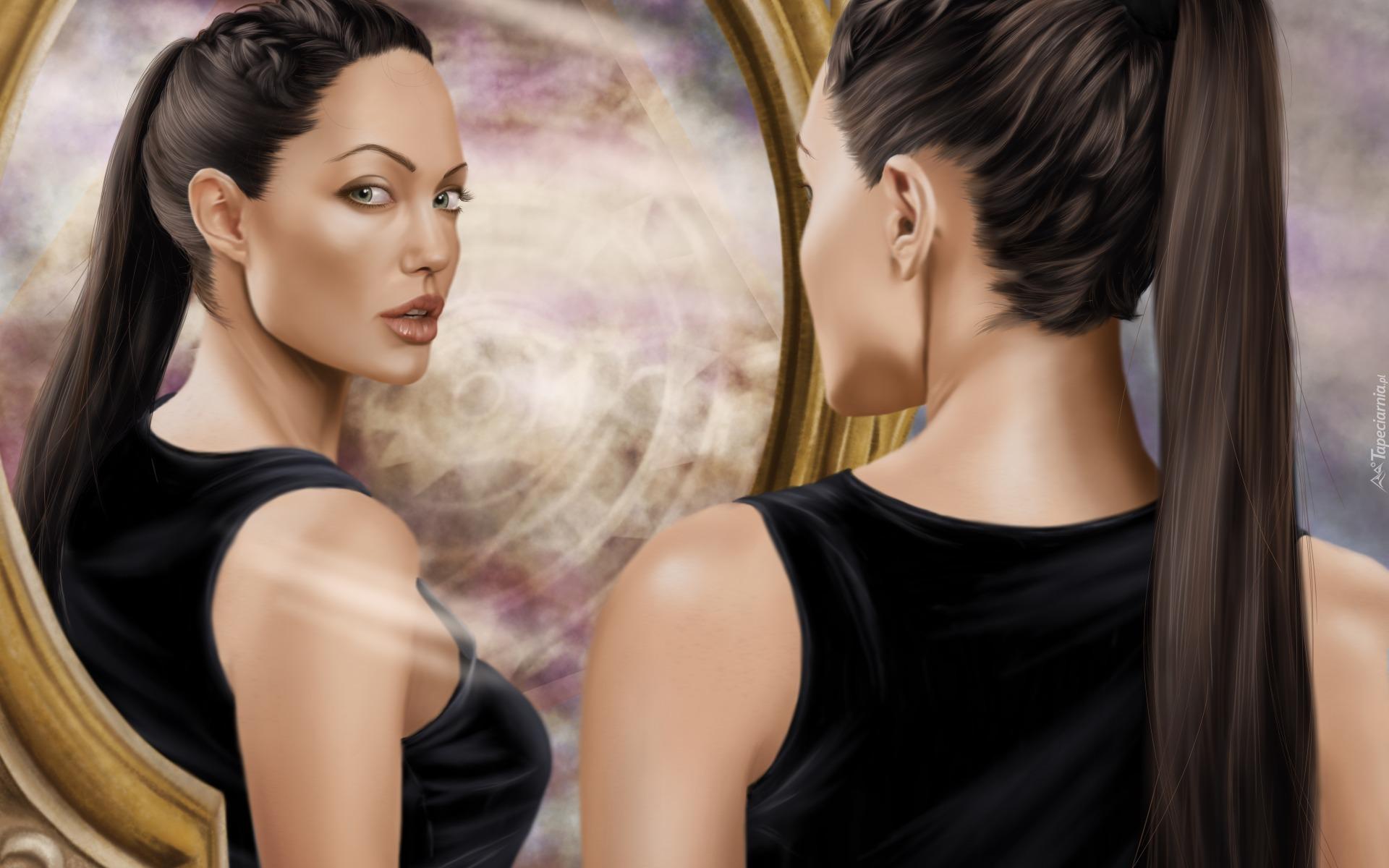 Angelina jolie jako lara croft spogl da w lustro for Reflet dans le miroir