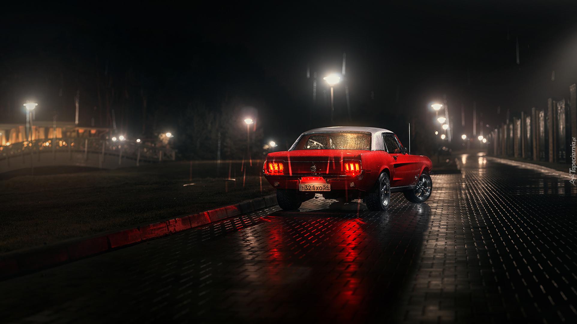 Czerwony ford mustang w deszczow noc for Sfondi 4k per pc
