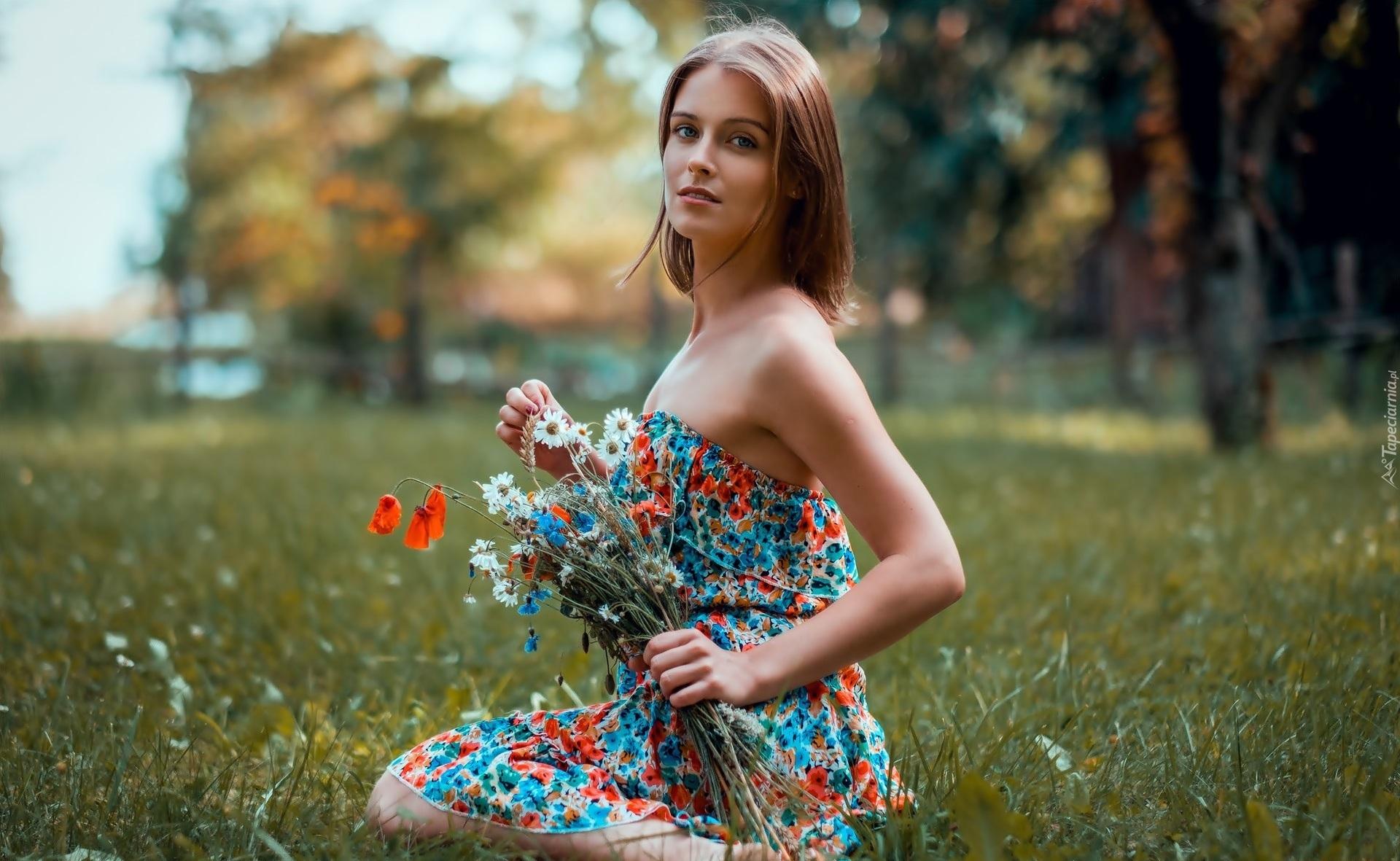 Kobieta, Wianek, Bukiet, Polnych, Kwiatów, Łąka