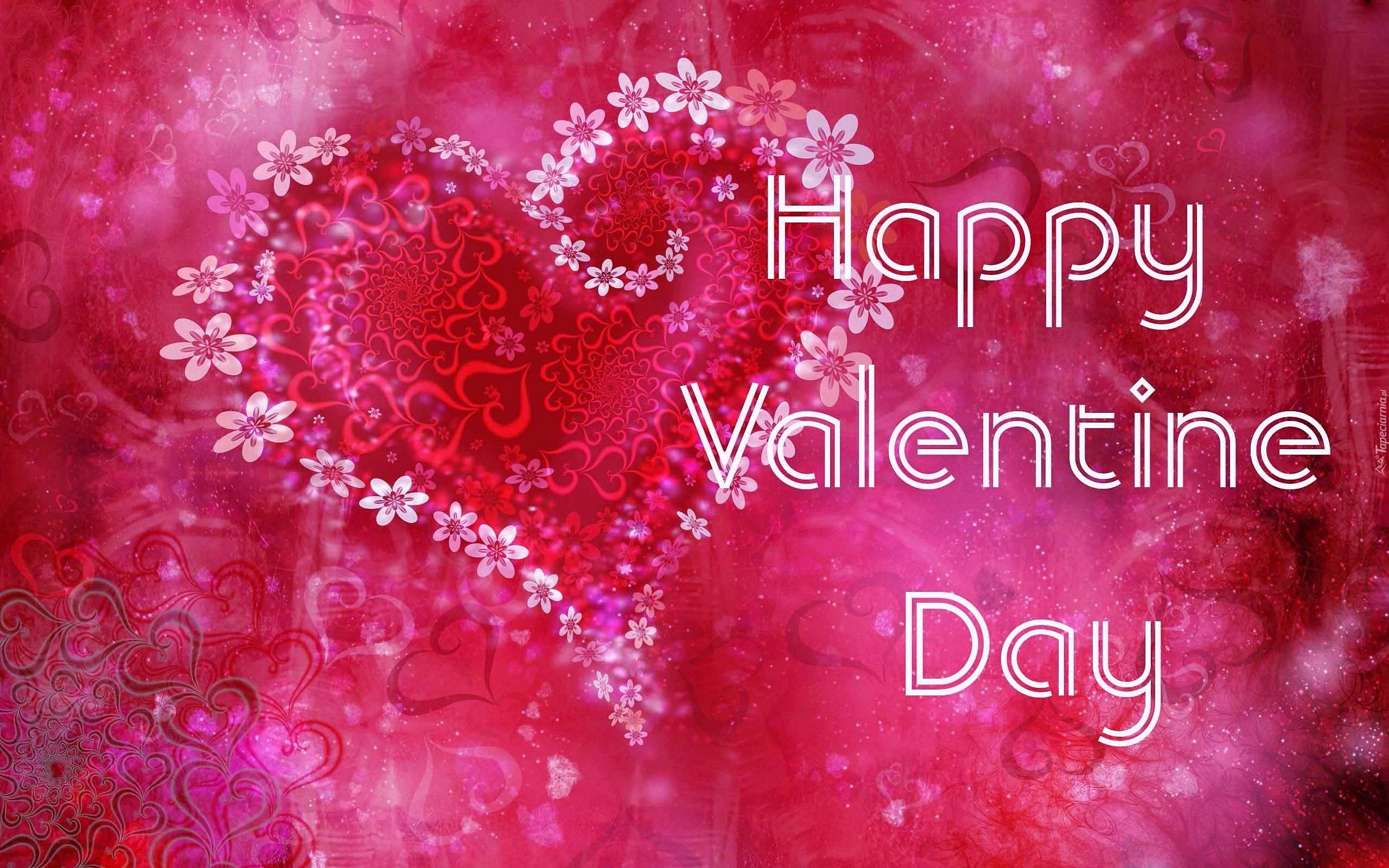życzenia Walentynkowe: Walentynkowe życzenia Z Kwiatowym Serduszkiem