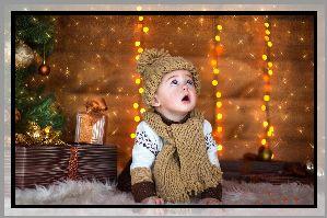 Dziecko, Święta, Choinka, Prezeny