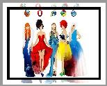 Przeglądarki, Ikonki, Kobiety, Kolorowe Sukienki, Akwarela, Moda i styl