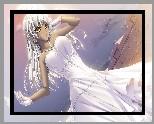 Dziewczyna, Biała, Sukienka, Rękawiczki