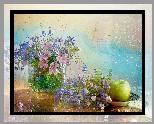 Kompozycja, Kwiaty, Kosmea, Niezapominajki, Jabłko, Deszcz