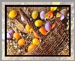 Dekoracja, Wielkanoc, Koszyk, Kolorowe, Pisanki