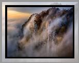 Bułgaria, Góry Rodopy, Skały, Mgła, Jesień