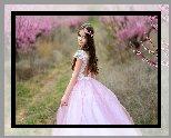 Wiosna, Sad, Kwitnące, Drzewa, Dziewczynka, Różowa, Sukienka