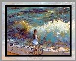 Dziecko, Rower, Plaża, Morze, Fale, Mewa, Grafika