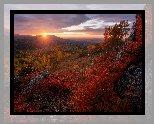 Góry Ałtaj, Zachód słońca, Jesień, Drzewa, Brzozy, Skały, Republika Ałtaju, Rosja