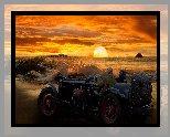 Fotomontaż, Morze, Zachód słońca, Zabytkowy, Samochód, Pasażerowie, Podróż
