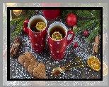 Herbata, Dwa, Kubki, Cytryna, Ciasteczka, Cynamon, Gałązki, Deski, Świąteczne