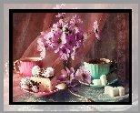 Różowe, Kwiaty, Kosmea, Filiżanki, Cukier, Ciasto Kosmea