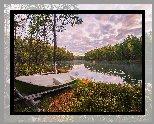 Łódka, Brzeg, Jezioro, Drzewa, Jesień