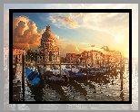 Wenecja, Przystań, Canal Grande, Łodzie, Domy, Gondole, Chmury, Poranek, Wschód słońca, Włochy
